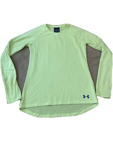 Under Armour YOUTH Size Large Long Sleeve Athletic Shirt Yellow Thumb Holes