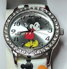 Disney MZ Berger Mickey Mouse Silver Tone Rhinestones Large Numbers Watch