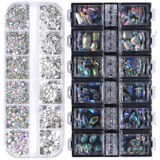 2 Boxes Marquise Water Drop  3D Nail Art Decoration Nail Rhinestones AB Color