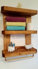Rustic Chunky Bathroom Shelf/Towel Rail/Storage Unit/Floating Shelf/Solid Wood