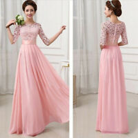 Women Lace Long Formal Evening Prom Party Dress Bridesmaid Dresses Plus Size