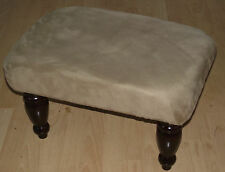 Superb light brown faux suede footstool with best quaity dark wood turned legs