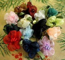 100 pcs Organza Ribbon Roses Appliques Wedding Decoration 1273T