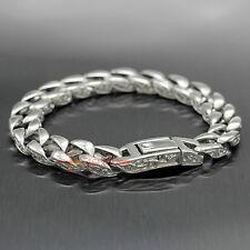 Silver 316L Stainless Steel Flower Vine Curb Men's Bracelet Cuban Link Wristband