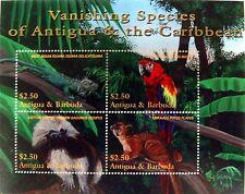 ANTIGUA & BARBUDA WILD ANIMALS STAMPS SHEET 2001 MNH MACAW PARROT IGUANA MONKEY