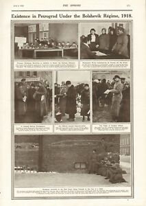 1918  ANTIQUE PRINT- RUSSIA - EXISTENCE IN PETROGRAD UNDER THE BOLSHEVIKS
