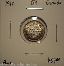 Canada George V 1912 Silver Five Cents - AU+