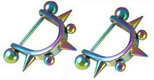 Jewelry Pair 14 gauge Body Piercing Nipple Ring Bars Rainbow Spike Body