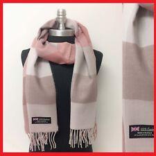 Women Winter Soft Warm CASHMERE SCARF Wrap Scotland Wool Check Plaid Blush Khaki
