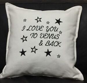 "Birthday wedding anniversary engagement Love black Star White 18"" padded cushion"