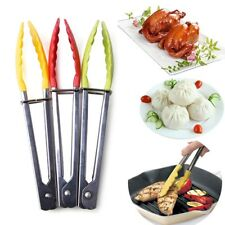 Silicone Cooking Food Salad Serving BBQ Tongs Stainless Steel Handle Utensil