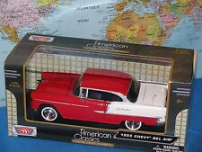 G LGB 1 24 escala 1955 amarillo Chevy Chevrolet Bel aire Motormax
