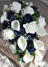 Beautiful Wedding Shower Bouquet Calla Lily Buttonhole Bride Groom Silk Wedding