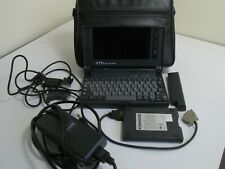 VINTAGE GATEWAY 2000 HANDBOOK WITH FLOPPY DRIVE, CHARGER AND LEATHER CASE