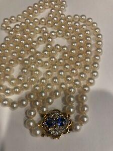 Vintage Antique Double Strand Akoya Pearl Necklace 14K Diamond & Sapphire 65 Gra