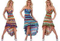 Vestito donna abito asimmetrico Multicolore scollo cuore strass nuovo