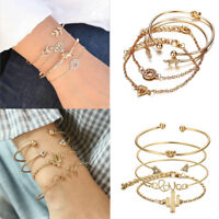 Fashion Women 4Pcs Leaf Knot Simple Adjustable Cuff Bangle Gold Bracelet Jewelry