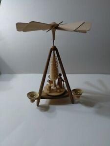 VTG Wood Christmas Spinning Pyramid Candle Holder German Carousel
