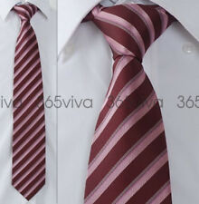 Red Pink Stripe Men Handmade Necktie 100% Woven Silk 8 cm Wide Wedding Tie