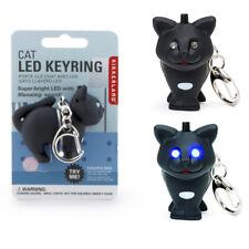 Kikkerland Black Cat LED Keyring Light Up Eyes Meowing Sound Key Chain Fun Gift