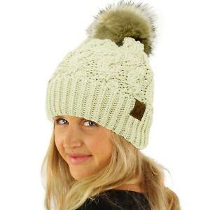 CC Winter Fleeced Lined Chunky Knit Stretchy Pom Pom Beanie Hat Cable Ivory