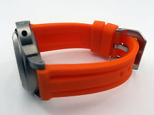24mm Orange Soft Rubber Watch Band Strap Brushed Buckle Fits PAM Free Ship