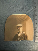 Photograph Vintage WWII Man In Navy Uniform HMS Hogue, Cropped Postcard