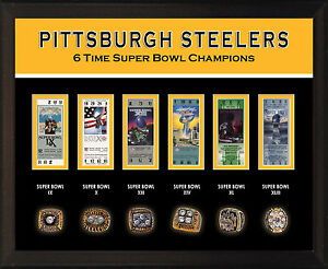 """8x10"""" PHOTO PLAQUE - PITTSBURGH STEELERS 6 Super Bowl Championship Rings Tickets"""