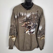 Vintage 90s Shirt Forest Glen Apparel Nature Double Sided Wolf Graphic 2XL USA