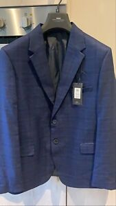 Moss London Bnwt Navy Blue Check Checked Tartan Suit Jacket 46 S