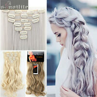 NEW 7pcs Full Head Clip in on Hair Extensions Real Natural for human Hairpieces