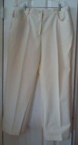 Cream St John Sport Cotton Stretch Jean Style Pants - Size 16