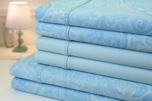 Bibb Home Paisley Collection Luxury Sheets Linens 1200 Tc Sateen Paisley Blue