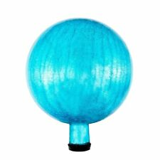 10in Teal Crackle Gazing Globe Glass Ball Garden Accent Patio Lawn Decor Outdoor