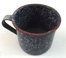 Blue Speckleware Splatterware Enamel Coffee Cup Vintage