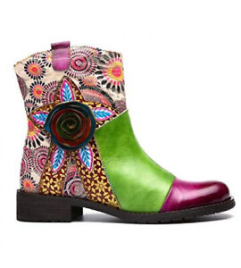 NEW Gracosy Patchwork Leather Multi Color Floral Ankle Boots-Women's Size 11