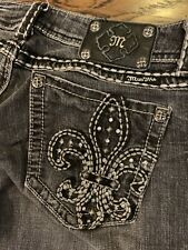 MISS ME BOOT Fleur Pocket Thick Stitch Jeans Size 31 X 31 Black Gray Wash
