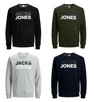 Jack & Jones Mens New Pullover Sweatshirt Crew Neck Long Sleeve Black Navy Grey
