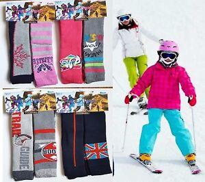 6X Ladies Girls Thermal Ski Socks, Kids Design Long Winter Warm Socks 9-12, 4-6