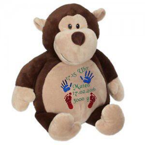 Plüschtier, Kuscheltier, Baby-Geschenk individuell bestickt, Affe