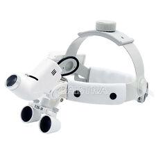 UK 1Kit  Dental Binocular Loupes Magnifier LED + Headlight Headband 3.5X White