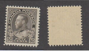 Mint Canada Brown Black, Wet Printing, 50 Cent KGV Admiral #120ii (Lot #18694)