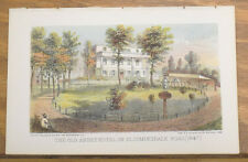 1864 Antique COLOR Print/NEW YORK CITY, ABBEY HOTEL, BLOOMINGDALE ROAD
