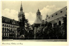 Braunschweig Niedersachsen alte Postkarte 1953 Rathaus mit Burg Reiter Denkmal