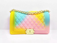 Fashion Shoulder Chain Rainbow Jelly Bag Multi-colored PVC Purse (6 variations)