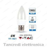 Lampadina led V-TAC 6W = 40W E27 bianco freddo 6000K VT-1821 a candela SMD VTAC