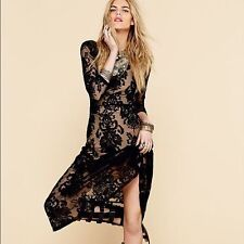 NEW For Love and Lemons Free People San Marcos Black Lace Midi Dress, Sz S