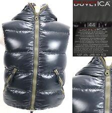 Duvetica Women's $450 Goose Down Hooded Winter Vest Size 44 Medium Full Zip Blue