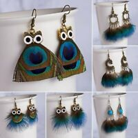 BOHO Peacock Feather Women Owl Earrings Tassels Ear Hook Drop Dangle Jewelry