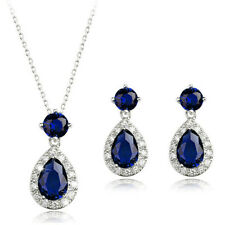 18K WHITE GP & GENUINE SAPPHIRE AUSTRIAN CRYSTAL AND CZ NECKLACE & EARRING SET